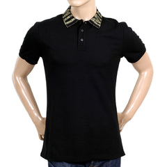 Moschino Polo Shirts Black Three-Buttoned Regular Fit Polo Shirt - Kitmeout