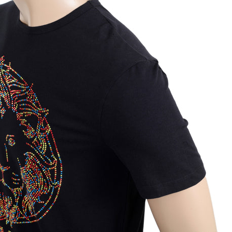 Versace Versus Short Sleeve Crew Neck Regular Fit T Shirt for Men with Multi Coloured Rhinestone Lion Head Design - Kitmeout