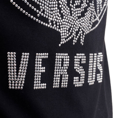 Versace Versus Short Sleeve Crew Neck Regular Fit T Shirt for Men with Silver Rhinestone Lion Head Design - Kitmeout
