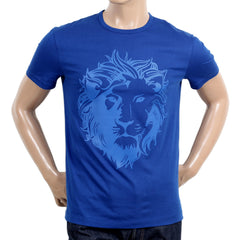 Versace Crew Neck Short Sleeve Regular Fit Royal Blue T Shirt with Self Coloured Lion Head Print - Kitmeout