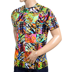 Versace Versus Mens Multi Colour Printed Crew Neck Short Sleeve Regular Fit T Shirt - Kitmeout