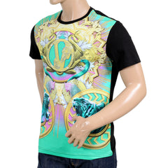 Versace Black Regular Fit Crew Neck Short Sleeve T Shirt for Men with Printed Coloured Tiger and Snake Front - Kitmeout