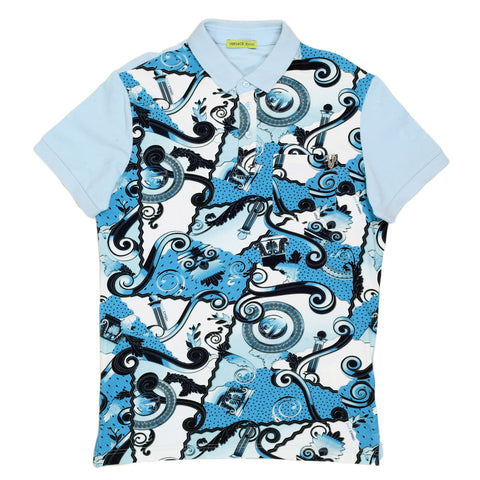 Versace Printed Blue Polo Shirt by Versace Jeans - Kitmeout