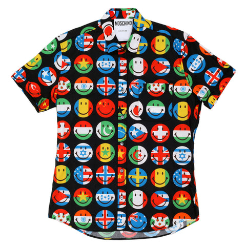 Moschino Multi Coloured Short Sleeved Flags on Smiley Face Printed Shirt with Single Chest Pocket - Kitmeout