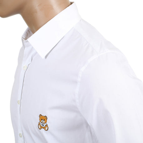 Moschino White Long Sleeve Slim Fit Teddy Bear Embroidered Shirt with Soft Collar and Rounded Tail - Kitmeout