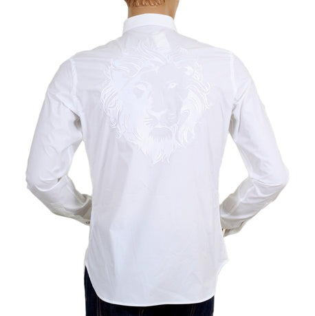 Versace White Stretch Cotton Shirt with Lion Head Embroidered