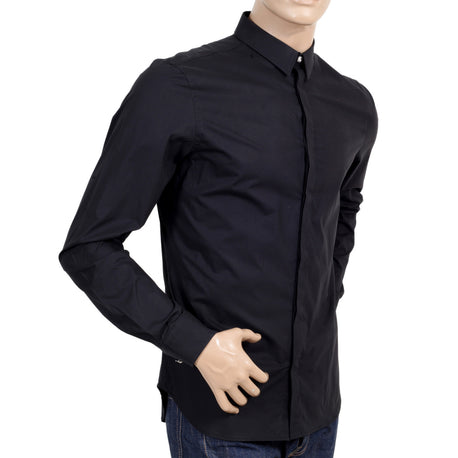 Versace Stretch Slim Fit Black Cotton Shirt with Large Self Coloured Lion Head Embroidery on Back