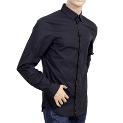 Black Cotton Slim Fit Shirt By Verasce with Embossed Buttons and Logo Piped Placket