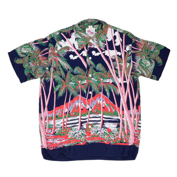 Navy Sun Surf Coconut Palms & Duamond Head Rayon Hawiian Shirt