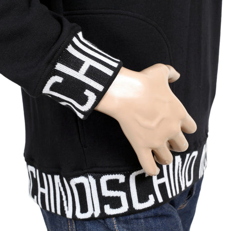 Moschino 3 Button Black Sweatshirt with a Hood, 2 Front Pockets, and White Woven Text Logo - Kitmeout