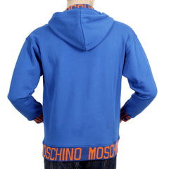 Moschino Blue Regular Fit Sweatshirt with  2 Front Pockets, a Hood, and Orange Woven Text Logo - Kitmeout