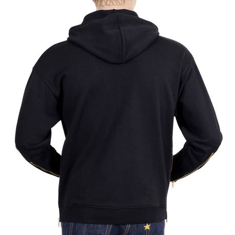 Moschino Mens  Regular Fit Black Hooded Sweatshirt with Front and Side Seam Zip - Kitmeout