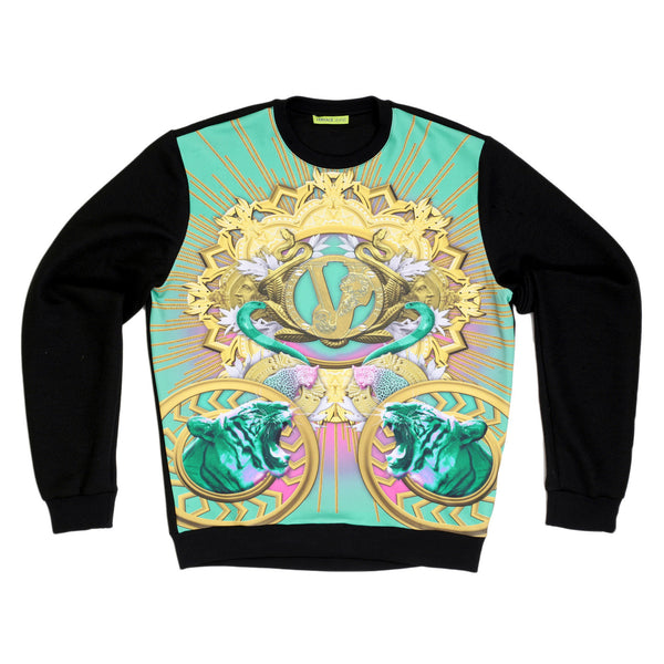 Versace Jeans Printed Tiger Snake Front Long Sleeve Regular Fit Crew Neck Sweatshirt with Plain Back