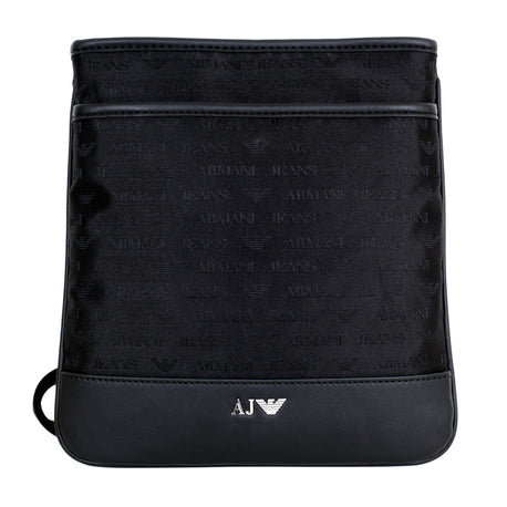 Armani Jeans Bag Top Zip Closure Front Pocket Black Bag with Jacquard Monogram and Eagle Logo - Kitmeout