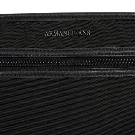 Armani Jeans Bag Top Zip Closure Front Pocket Black Bag with Text Logo - Kitmeout