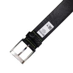 Hugo Boss Green Textured Leather Embossed Logo Black Belt for Men with Silver Pin Buckle