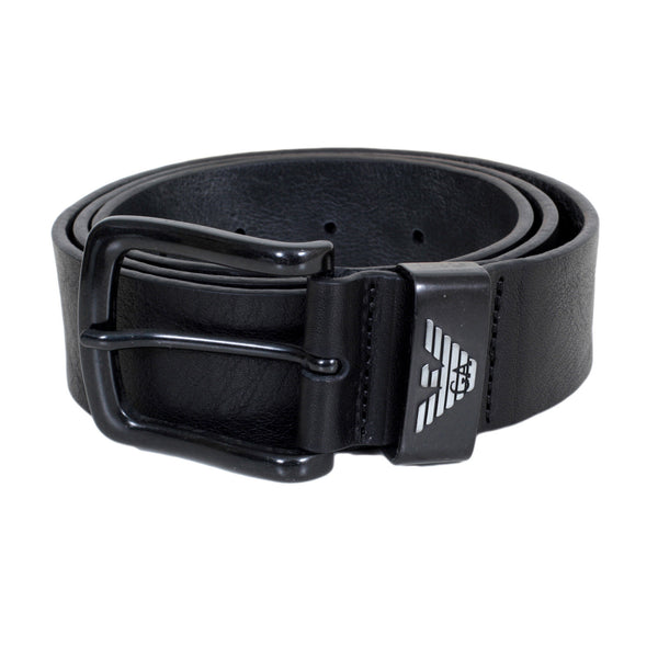 Armani Mens Black Casual Belt with Silver Signature Eagle Logo
