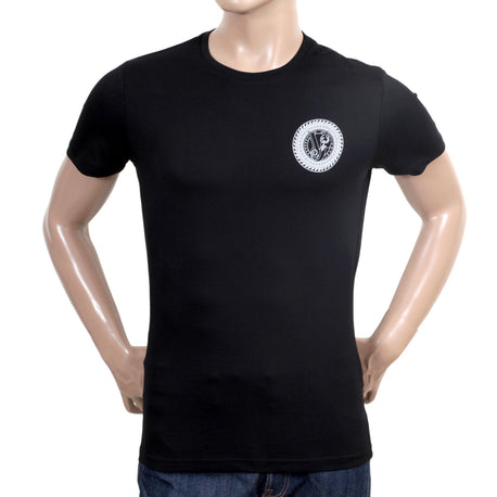 Versace Jeans White Logo Printed Cotton Short Sleeve Black Crew Neck T Shirt with Slimmer Fit