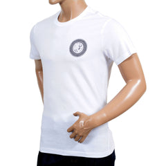 Versace Jeans White Slimmer for Short Sleeve T Shirt with Black Printed Logo on the Chest