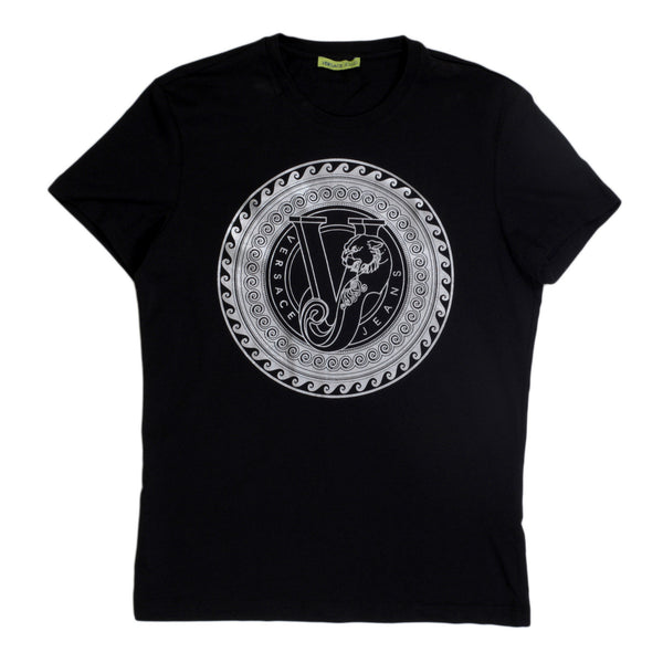 Versace Crew Neck Short Sleeve T Shirt in Black from Versace Jeans with Silver Printed Chest Logo - Kitmeout