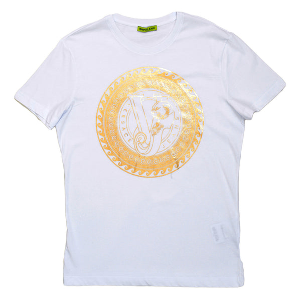 Versace Jeans Cotton Made Gold Chest Logo Printed Short Sleeve T Shirt in White - Kitmeout