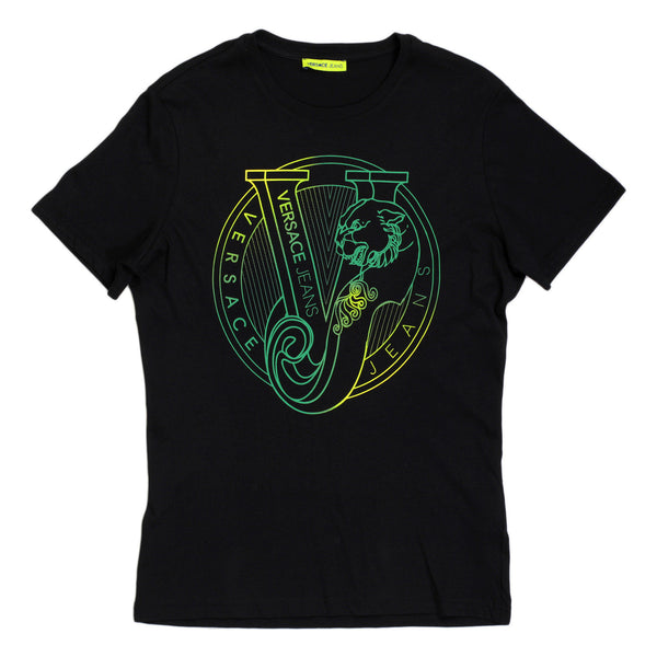 Versace Crew Neck Cotton Made Short Sleeve Green Logo Printed T Shirt in Black