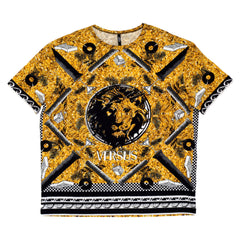 Versace Crew Neck Slimmer Fit Stretch Cotton T Shirt with Hero Print Graphics in Gold and Black