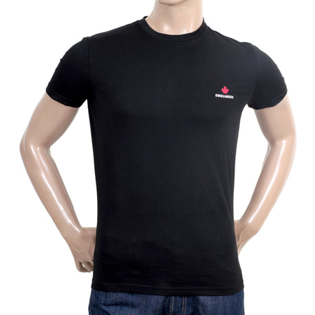 Dsquared Tee Black Cotton Short Sleeve Crew Neck Logo T Shirt in Regular Fit for Men