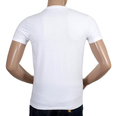 DSquared2 T-Shirt Crew Neck Regular Fit Cotton White T Shirt with Black Text Logo on Chest - Kitmeout