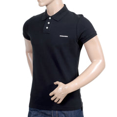 Dsquared2 Polo Shirt in Black with Raised White Brand Logo - Kitmeout