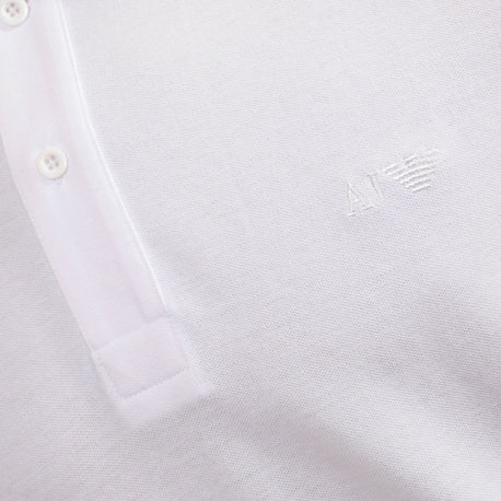 Armani Jeans Polo Shirt for Men Modern Fit White Short Sleeve with White Embroidered Logo - Kitmeout