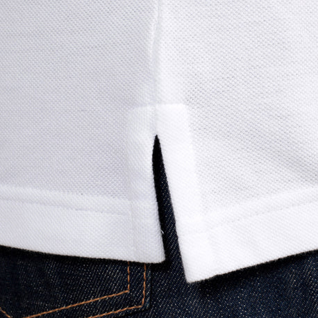 Versace Jeans Cotton White Polo for Men with Blue Chest Pocket, Ribbed Collar and Sleeve Cuffs - Kitmeout