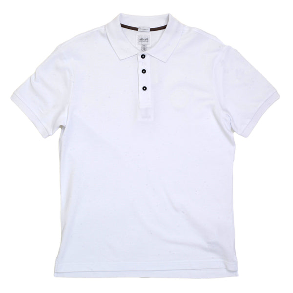 Armani Collezioni Mens Regular Fit Cotton Polo Shirt in White colour
