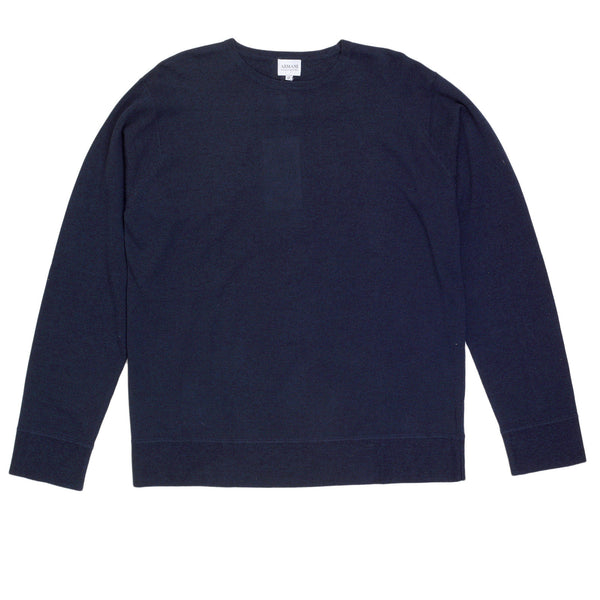 Armani Collezioni Long Sleeve Navy Regular Fit Knitted Crew Neck Jumper