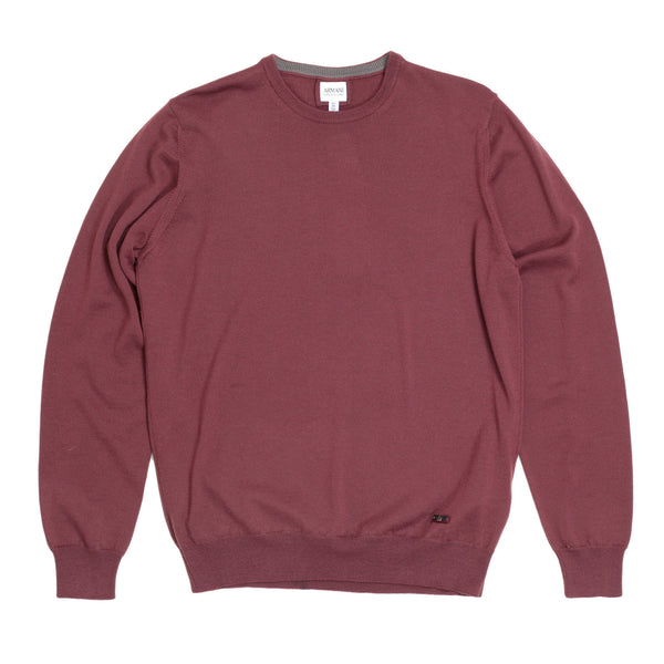 Armani Collezioni Crew Neck Sweater Knitwear with Embossed Logo - Kitmeout