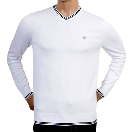 Armani V Neck Regular Fit White Jumper