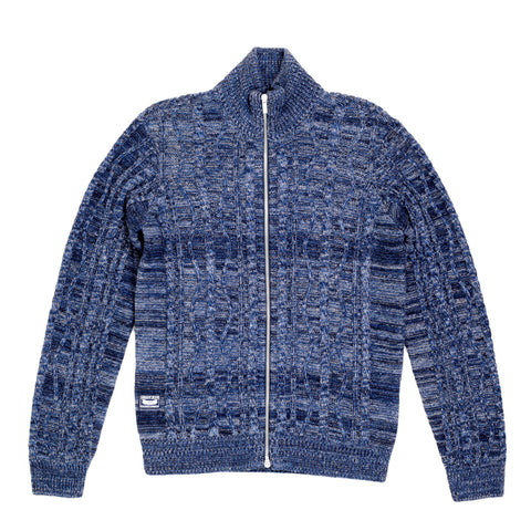 Armani Jeans High Neck Zip Up Cardigan in Blue - Kitmeout