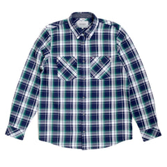 Carhartt Reynolds Check Regular Fit Heavier Cotton Long Sleeve Labor Blue Shirt