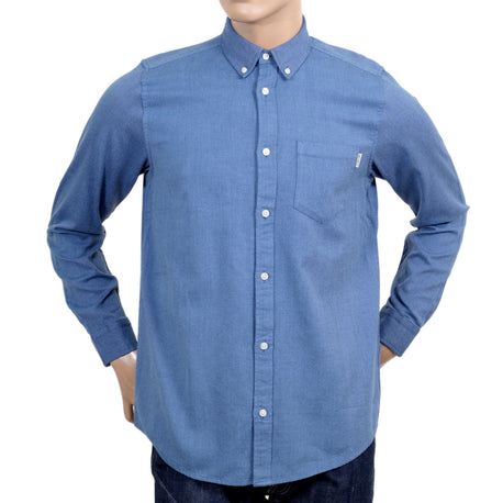 Carhartt Sky Blue Long Sleeve Regular Fit Dalton Shirt for Men