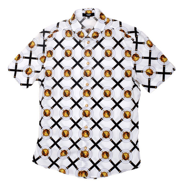 Versace Slimmer Fit Cotton Short Sleeve Shirt for Men with Rounded Tail and Lion Head Belt Print