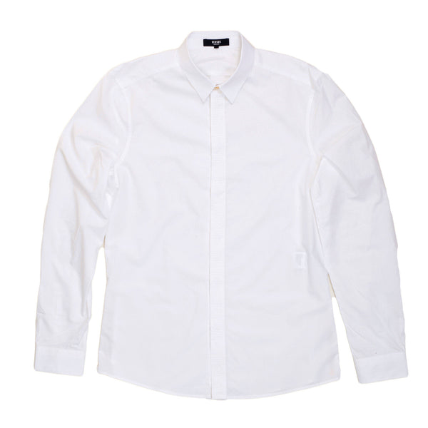 Versace Long Sleeve White Slim Fit Shirt with Zips on Side Seams and Text Logo Embroidered Placket