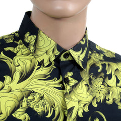 Versace Baroque Printed Shirt Versace Logo Embossed Buttons