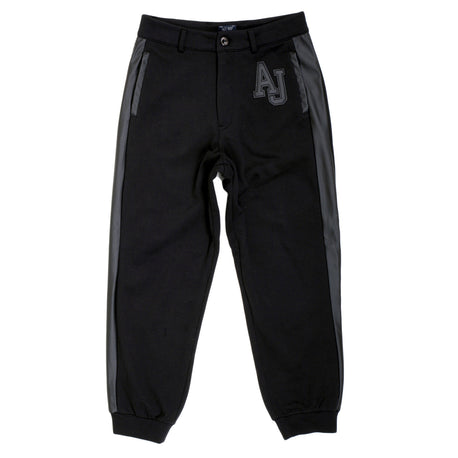 Black Armani Jeans Track Pants With Pleather Logo And Side Panel