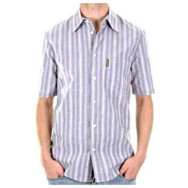 Armani Blue/white woven stripe shirt. 10% True Hemp and Made in Italy