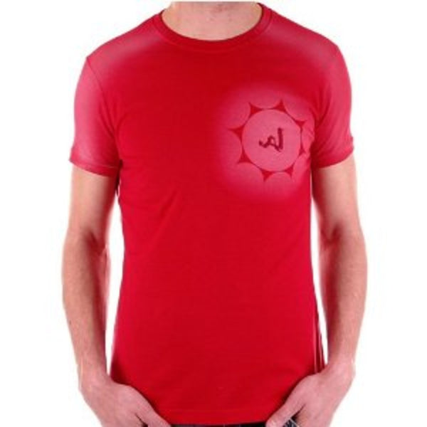 Armani red short sleeve t-shirt. Printed and embroidered on chest