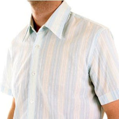Made in Italy Hugo Boss turquoise striped short sleeve shirt