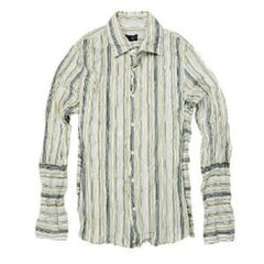Armani Striped Shirt. Washed un-ironed crinkle creased finish vertical stripes