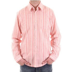 Pale red and cream striped Hugo Boss men's casual shirt