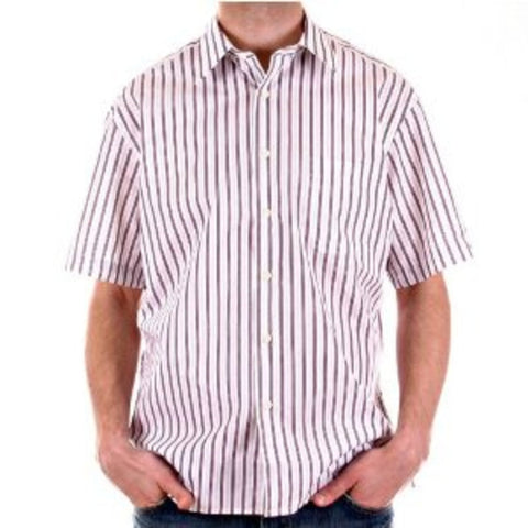 Burberry Short sleeve shirt printed plum & grey stripes - Kitmeout