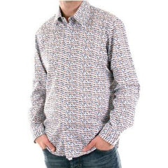 Pale Blue Hugo Boss long sleeve shirt with coloured jaquard pattern